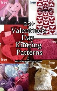 Knitting patterns for Valentine's Day with heart designs - great for gifts, decorations, more
