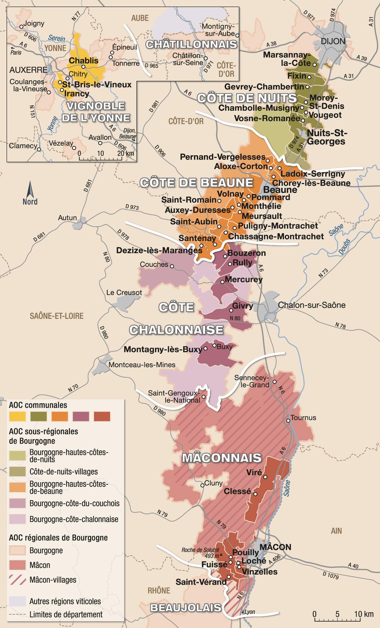 Favori Vins de bourgogne : vignoble et appellations - hachette-vins.com  QF76