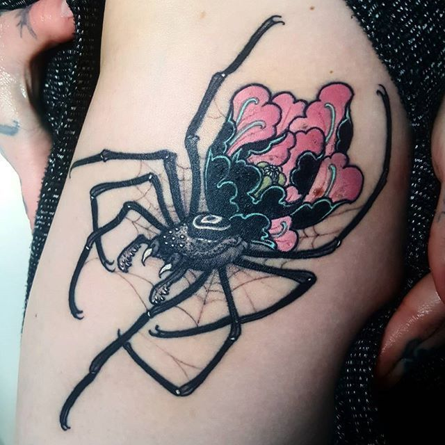 4f406a5af Settled photo of the little spider flower I tattooed on my lovely lady…