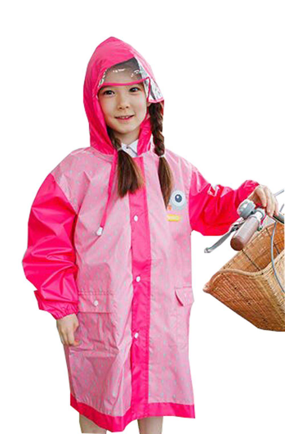 ff3d0a885204 KM Students  Cute Cartoon Transparent Brim Hooded Raincoat (M