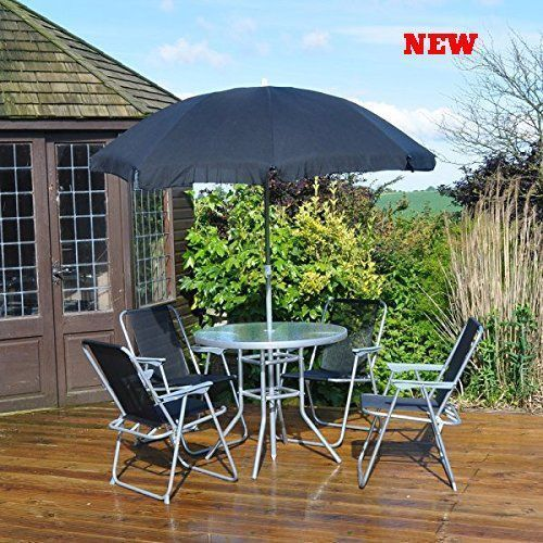 Garden Furniture Patio Set Outdoor 4 Seater Folded Chairs Glass