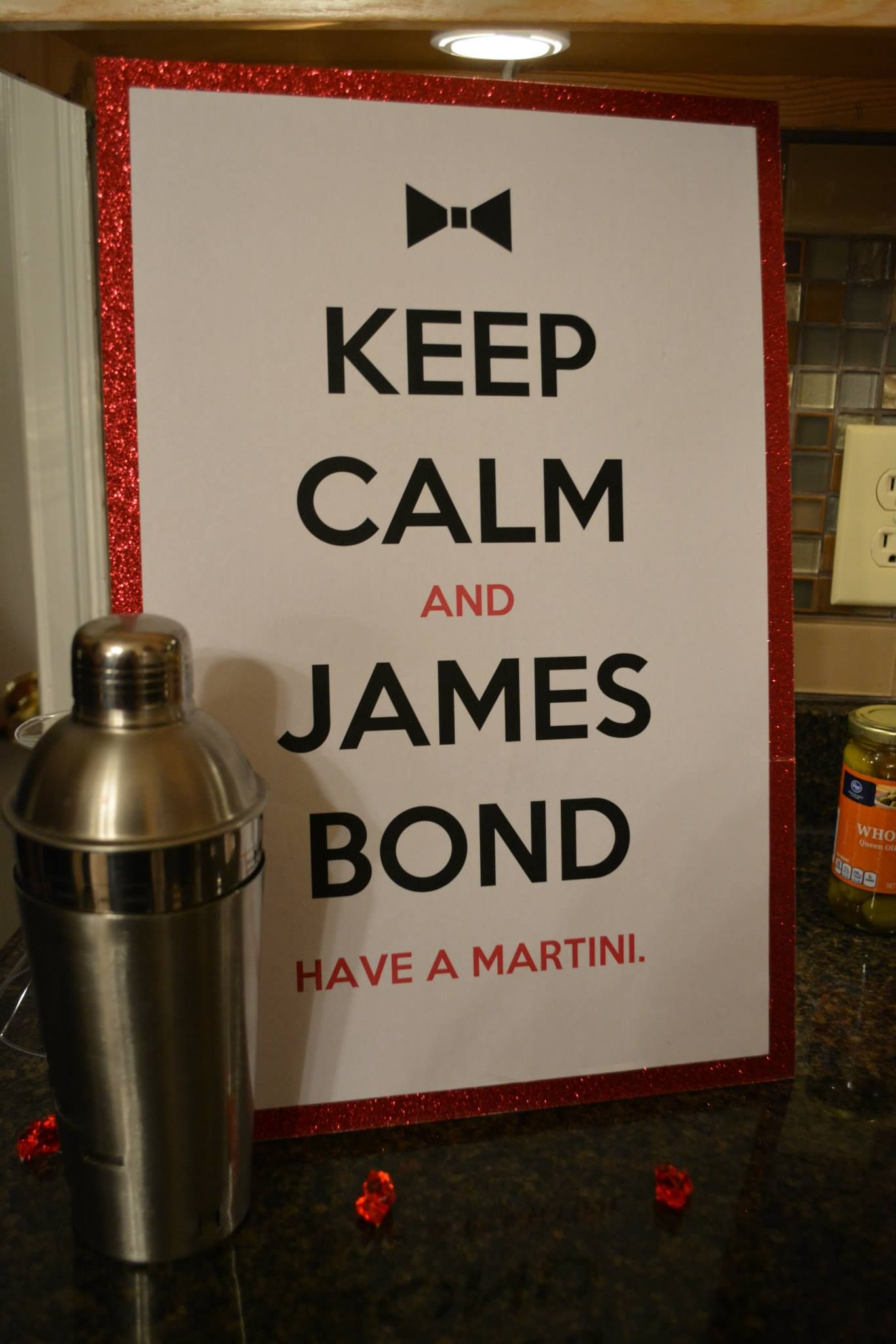 007 james bond themed birthday party keep calm and james bond james bond 60th birthday party. Black Bedroom Furniture Sets. Home Design Ideas