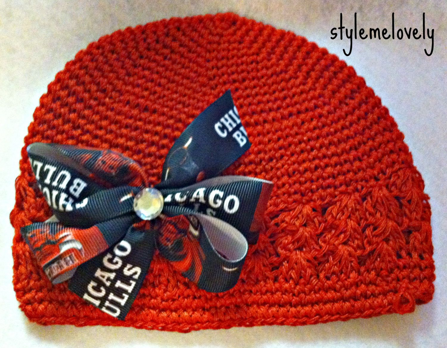 Chicago Bulls Baby Girl Boutique Bow Crocheted Hat by StyleMeLovely00 on Etsy https://www.etsy.com/listing/180579326/chicago-bulls-baby-girl-boutique-bow