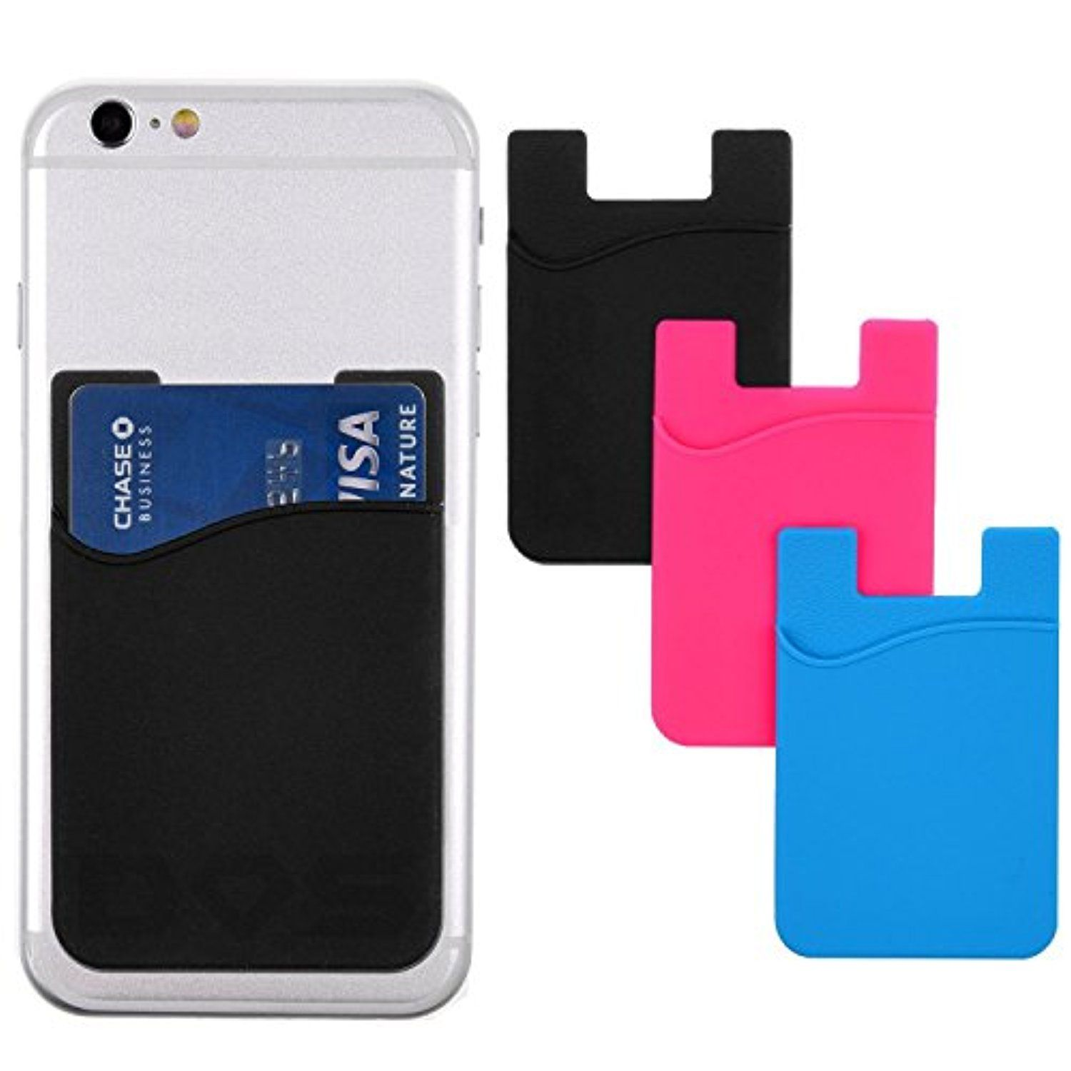 Stick on wallet idcredit card holder for phones strong 3m stick on wallet idcredit card holder for phones strong adhesive universal size fits most phones including iphone samsung galaxy non slip silicone magicingreecefo Images