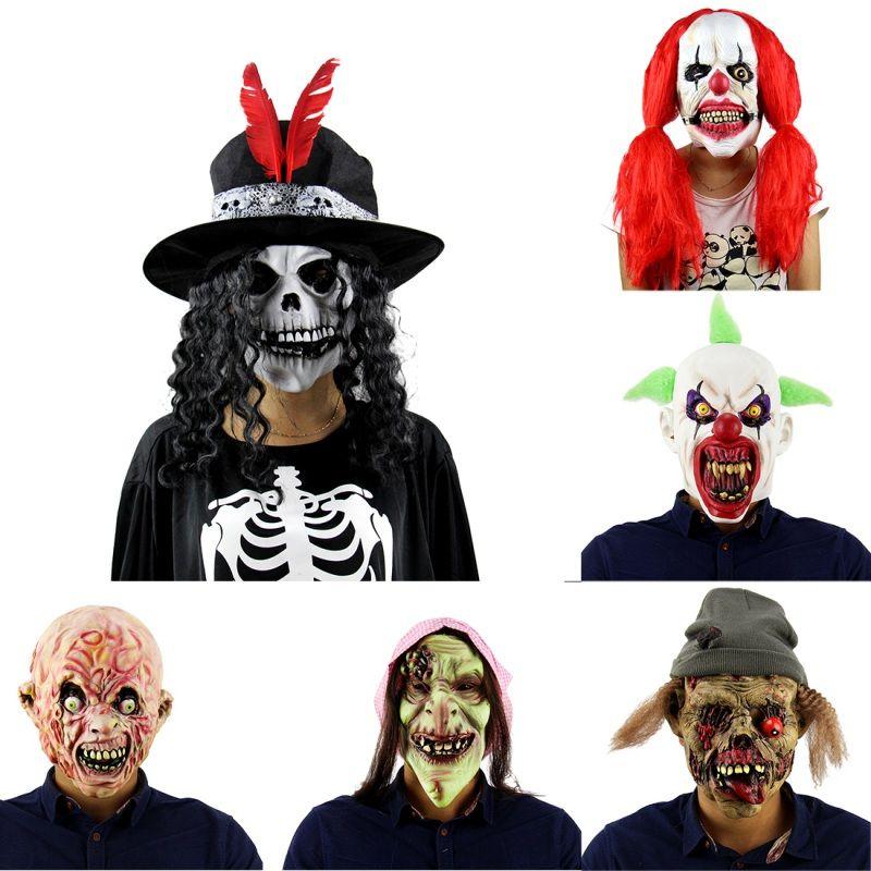 6 Kinds Halloween Masks Scary Clown Mask Full Face Horror