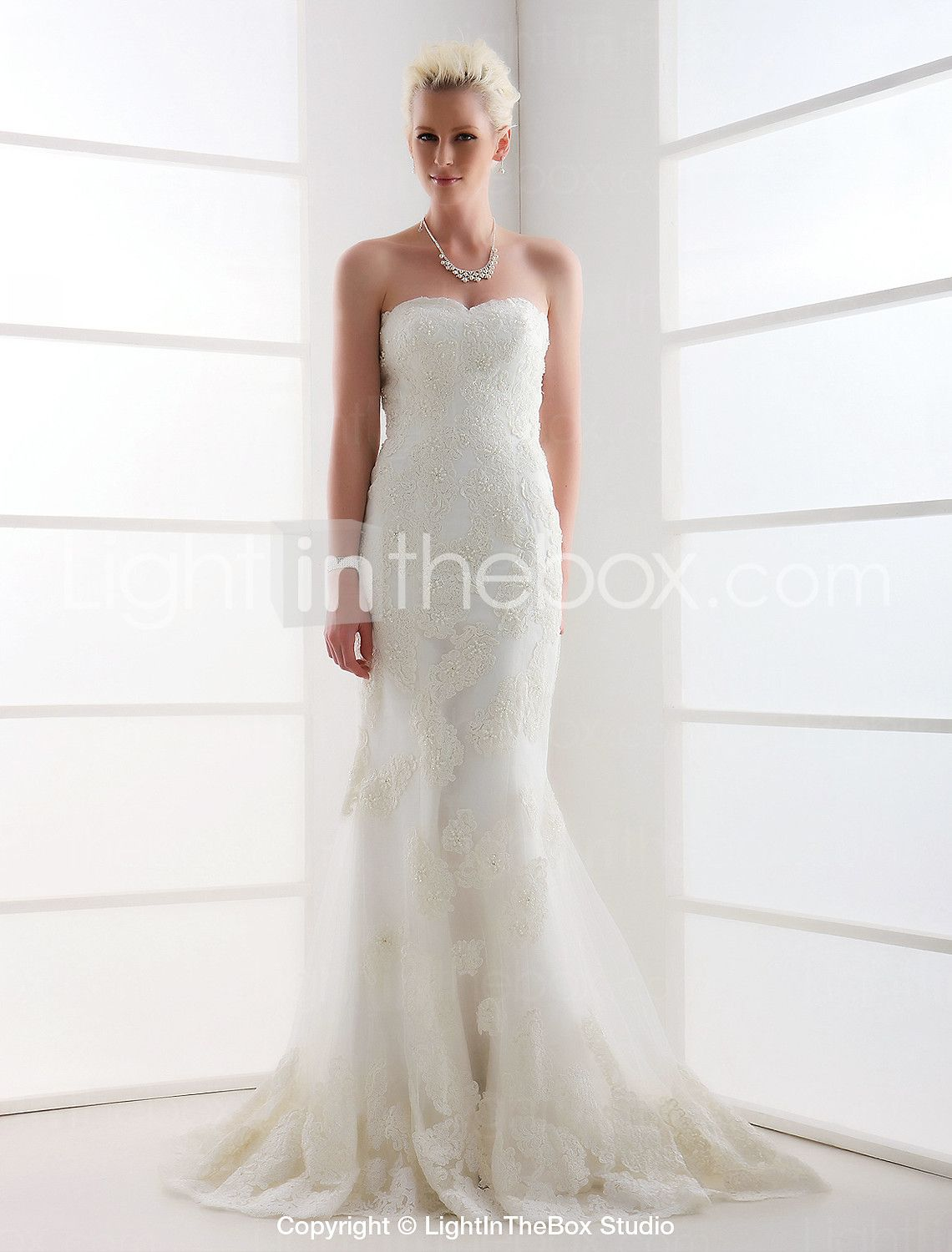 Plus size tulle wedding dress  Mermaid  Trumpet Sweetheart Sweep  Brush Train Lace Over Tulle