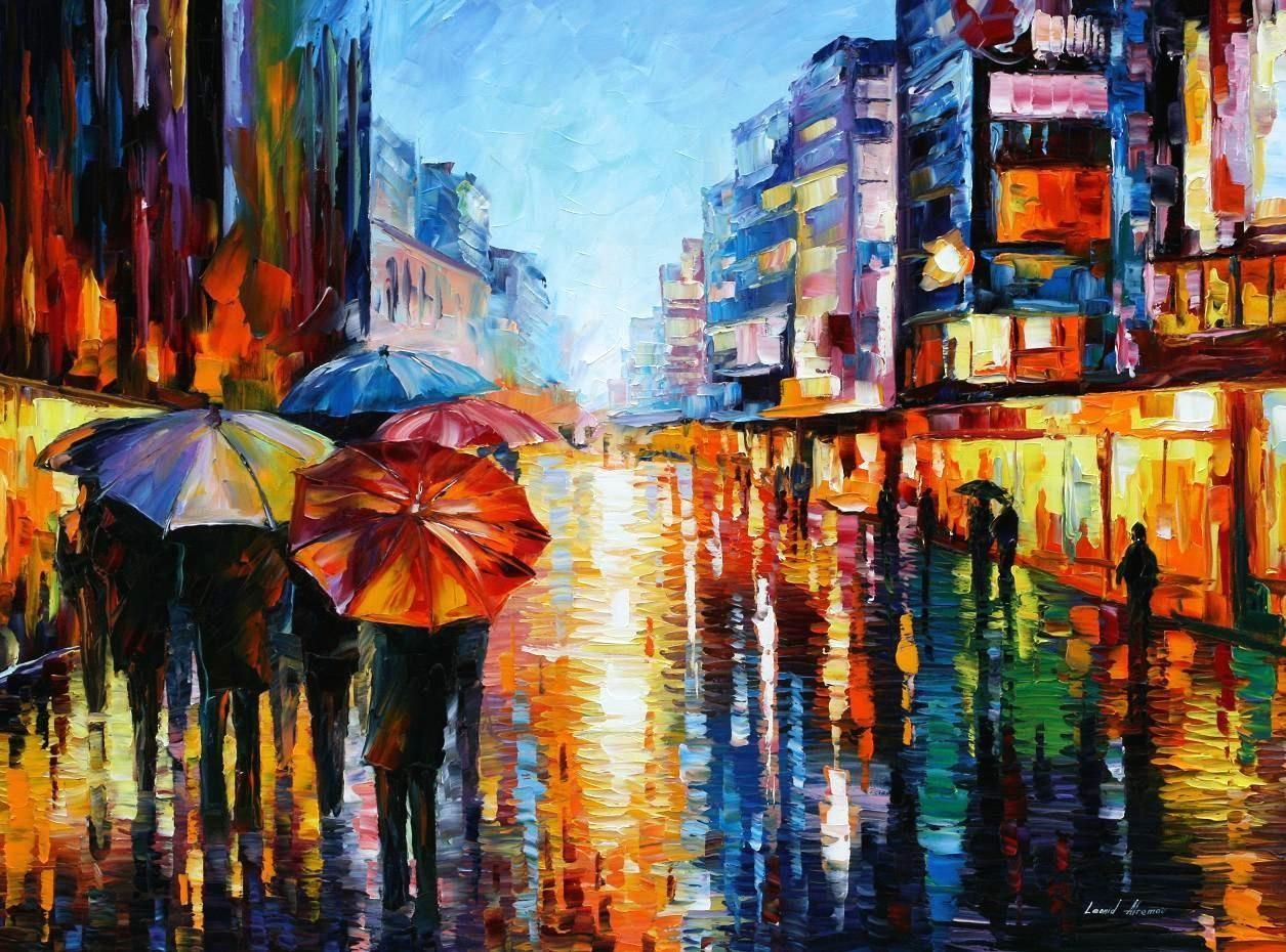 night umbrellas  palette knife oil painting on canvas by leonid  - night umbrellas  palette knife oil painting on canvas by leonid afremov