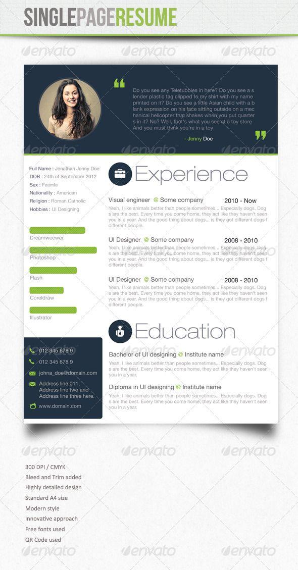 Standard Font Size For Resume Simple Resume  3  Pinterest  Simple Resume Simple Cv And Fonts