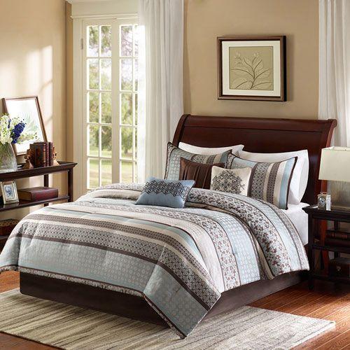 Madison Park Princeton Blue Seven-Piece Queen Comforter Set Pièces