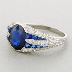 Art Deco Unheated Sapphire & Diamond Platinum Ring