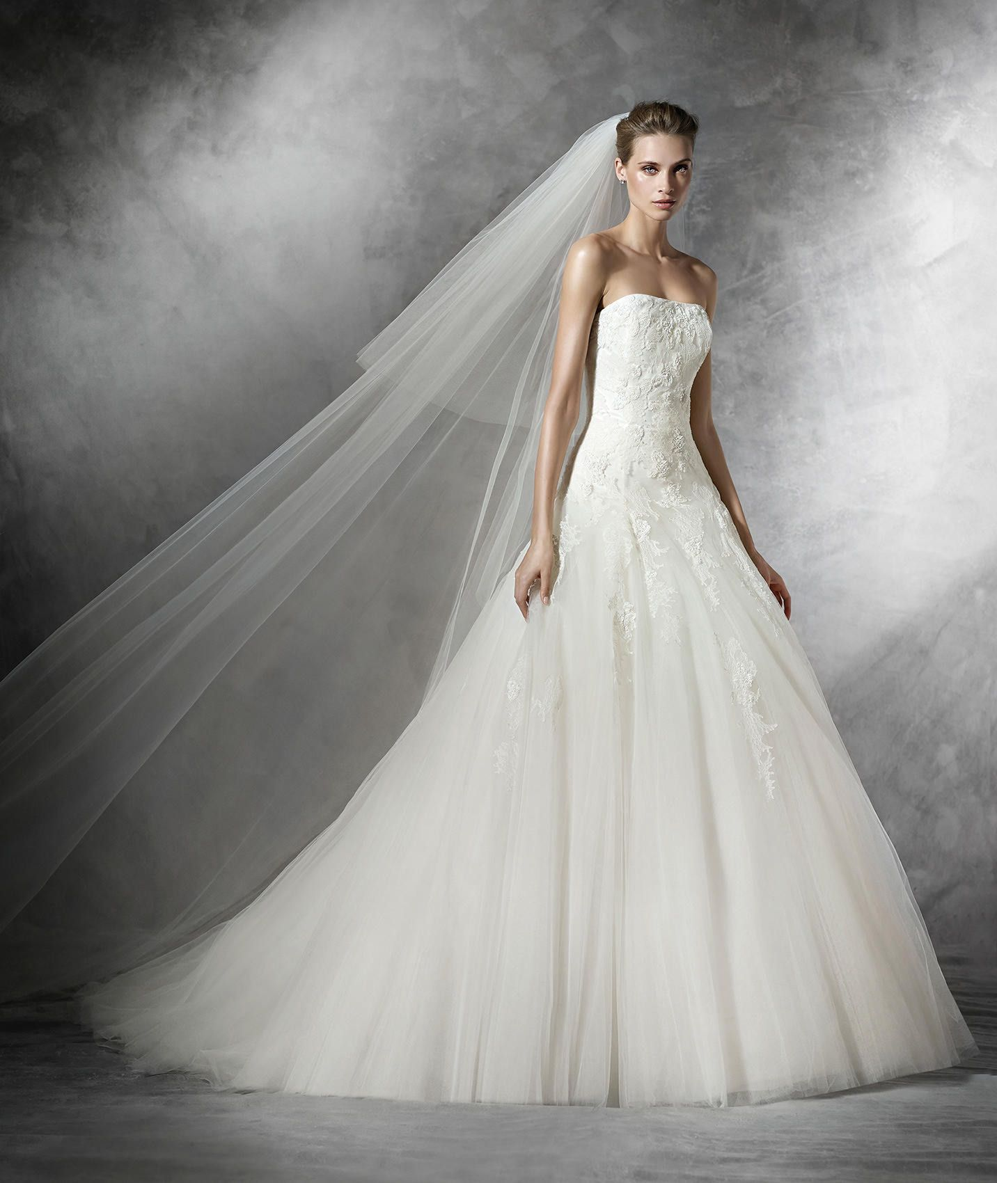 A fairy tale wedding dress. Chantilly lace over tulle princess gown ...