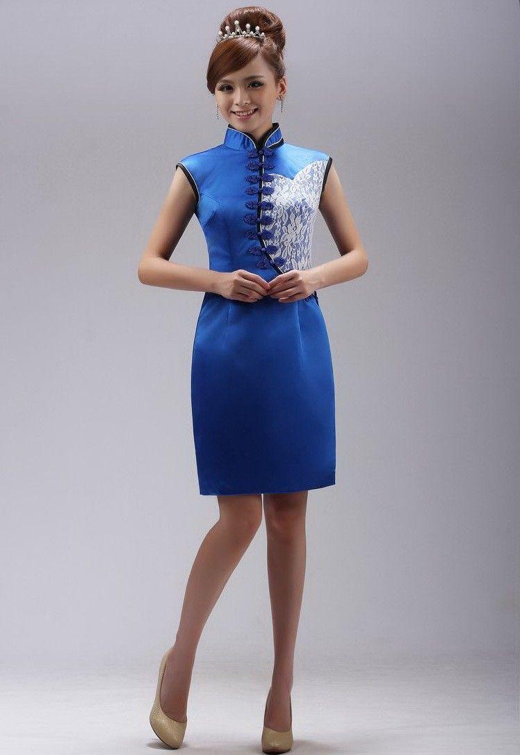 Blue Silk Lace Applique Mini Modern Cheongsam Prom Dress ...