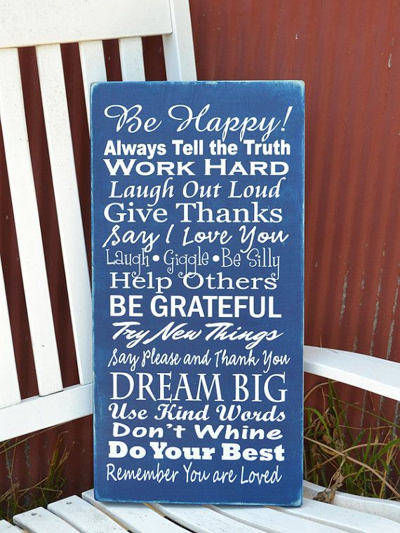 Grabers Graphics. Family Rules painted wood sign. $45   customizable with colors