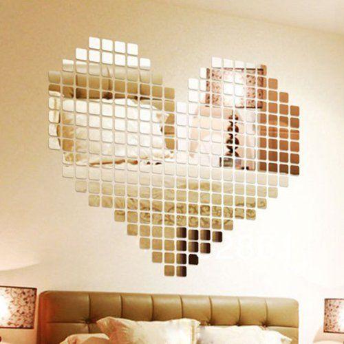 Wuiyepo 100 Stück DIY Fashion Silber 3D Wandaufkleber Mosaik - wohnzimmer beige silber
