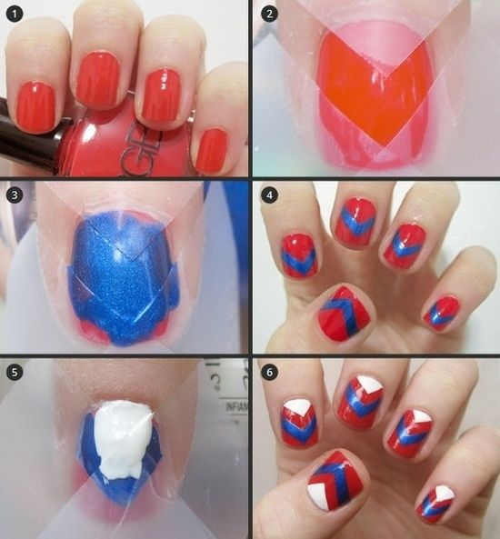 Red White Blue Nail Chevron Tutorial The 4th Of July
