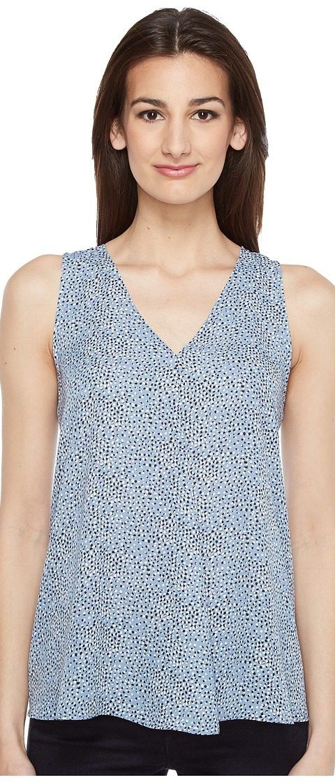 Vince Camuto Sleeveless Delicate Pebbles Drape Front Blouse (Stormy Blue) Women's Blouse - Vince Camuto, Sleeveless Delicate Pebbles Drape Front Blouse, 9127179-408, Apparel Top Blouse, Blouse, Top, Apparel, Clothes Clothing, Gift, - Street Fashion And Style Ideas