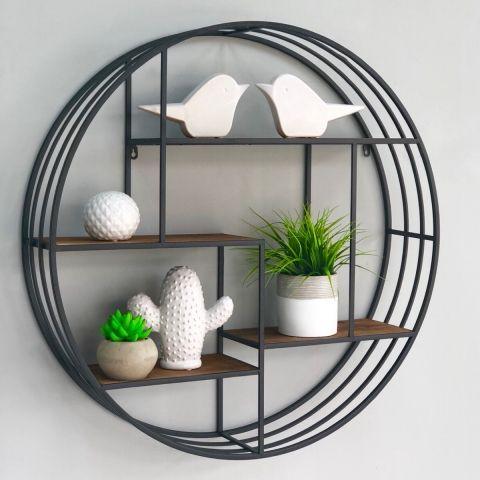 Round Metal Shelf Decor Home, Round Wall Decor With Shelves