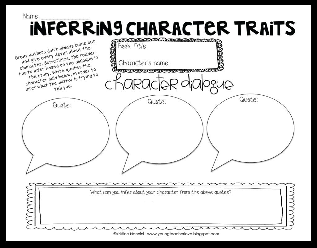 Character Traits Worksheet Inferring Character Traits