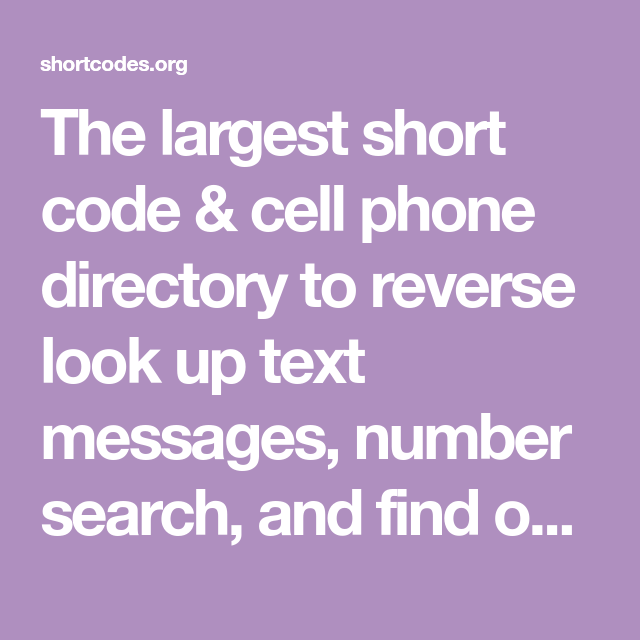 Short Code Cell Phone Directory