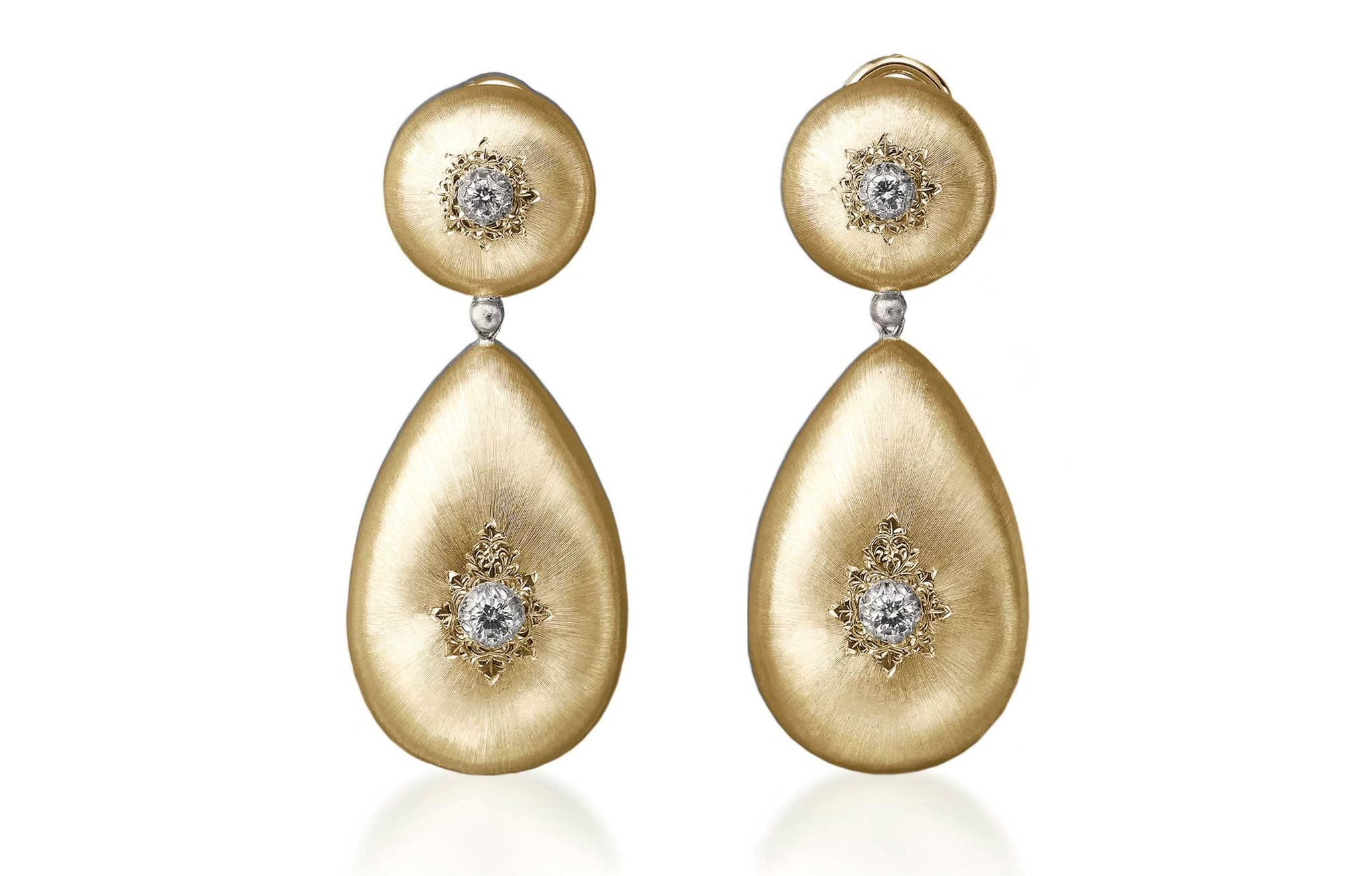 Buccellati 18k Macri Diamond Drop Earrings