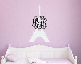 Eiffel Tower Decal Monogram Wall Decal Paris Wall Decal Paris Room Theme Eiffel Tower Vinyl Girl Bedroom Decor
