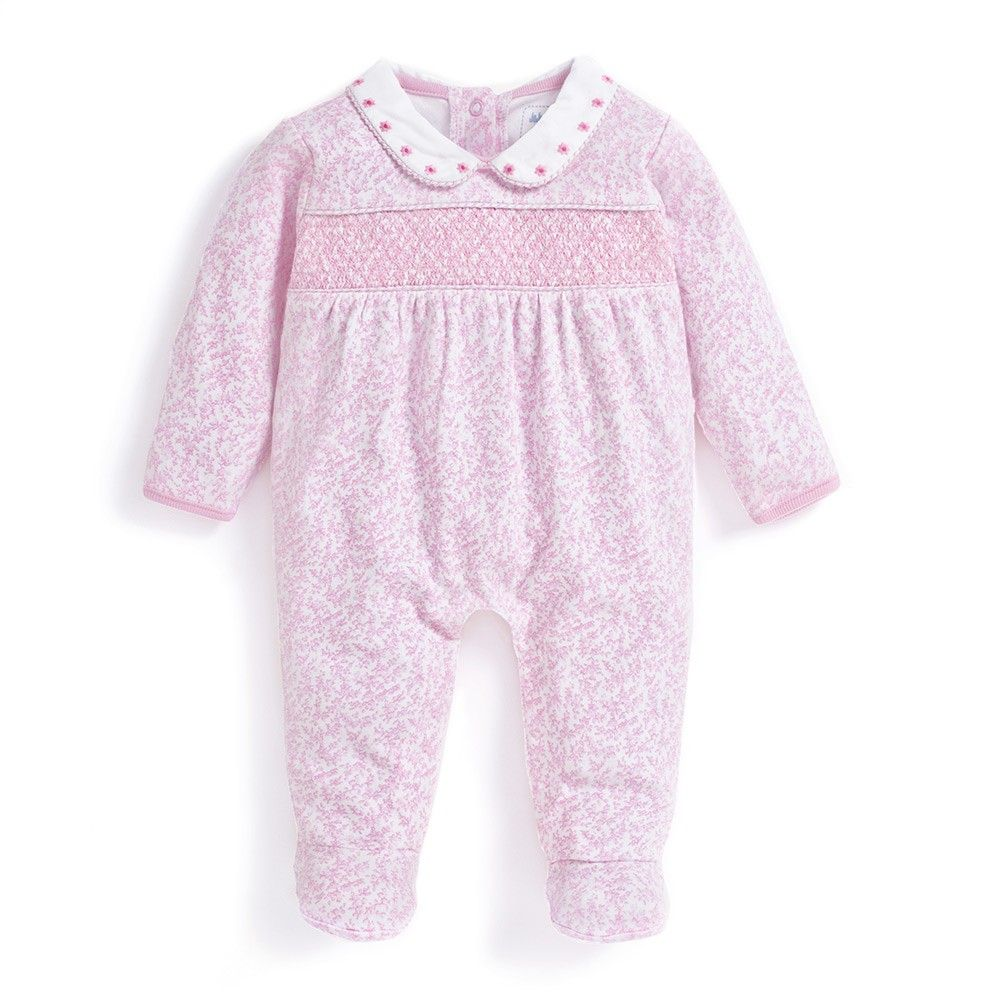 Pink Traditional Spanish Style Baby Girls Velour Smocked Babygrow