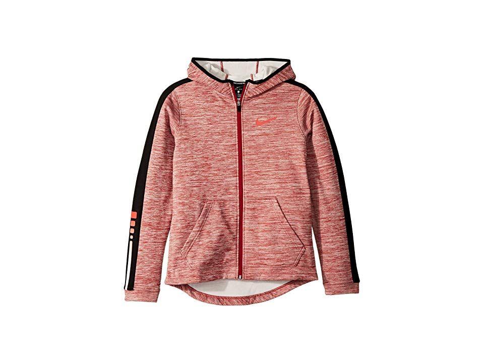 1347aafd67b8 Nike Kids Therma Elite Full Zip Basketball Hoodie (Little Kids Big Kids)  (Red Crush Black Bright Crimson) Boy s Sweatshirt. While he s running along  the ...