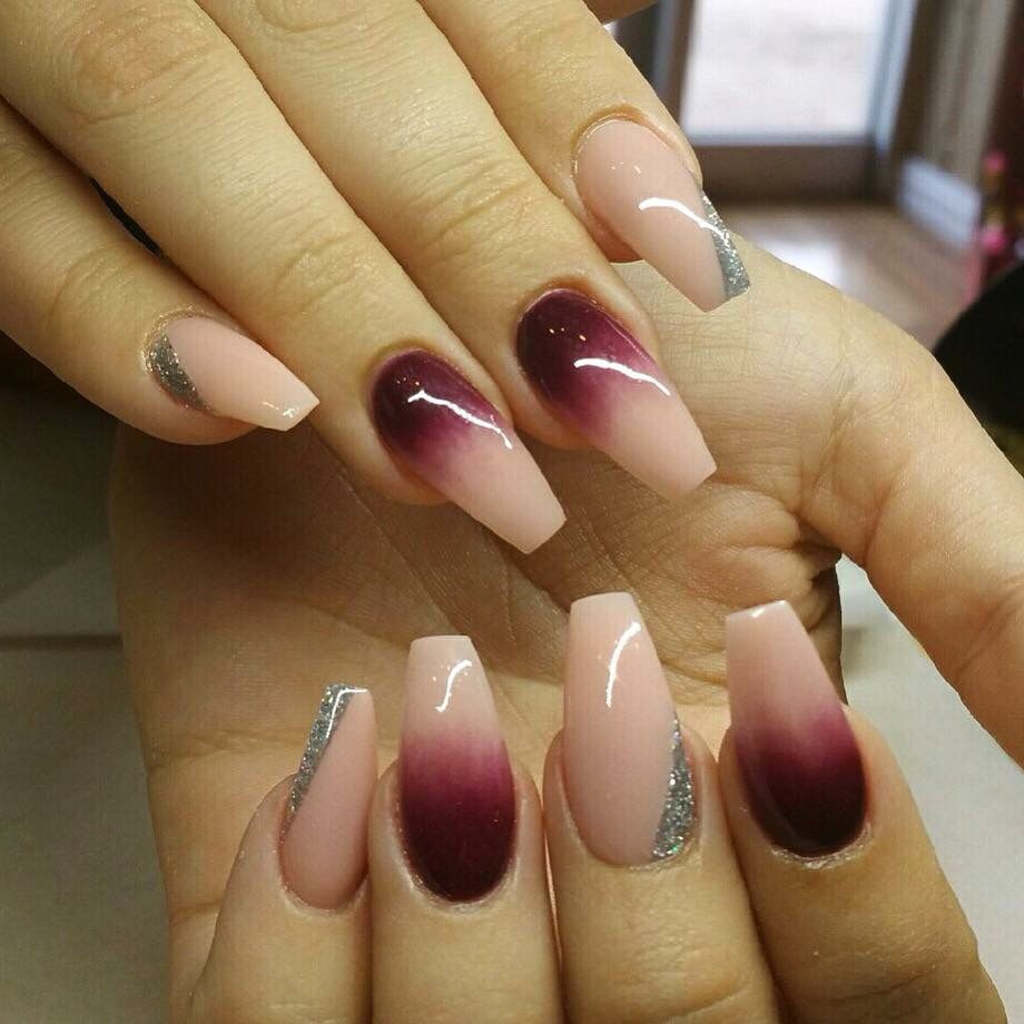 Ombr nude and burgundy   nail art   Pinterest   Nails ...