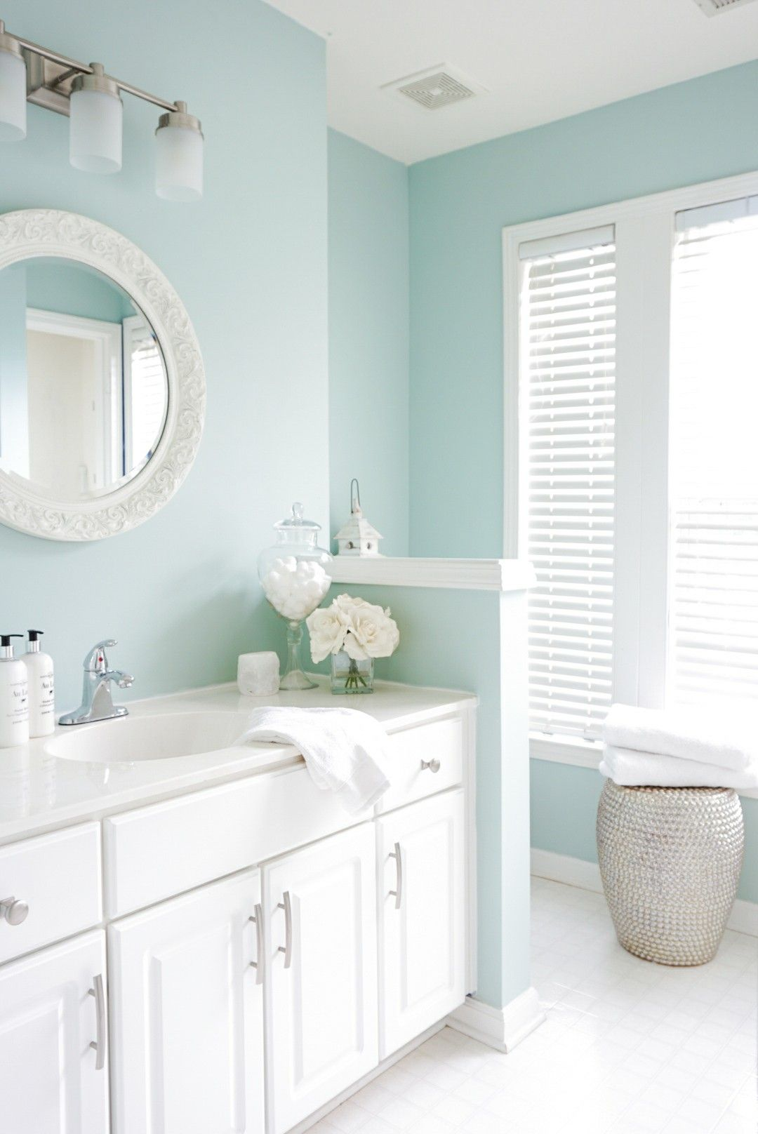 Sherwin Williams-Rainwashed. I want to use this color for a master on sherwin williams comfort gray bathroom, beadboard bathroom, sherwin-williams oyster bay bathroom, sherwin-williams waterscape bathroom,