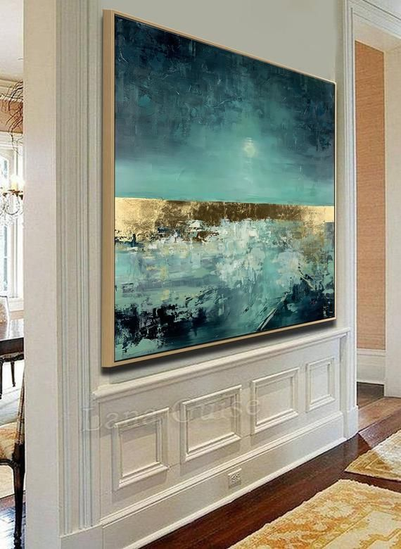 Weicher Tanz - große abstrakte Malerei Platz, Wohnzimmer Kunst, Petrol blau Gold Türkis Original-Gemälde, moderne Kunst, Blattgold #wallphone