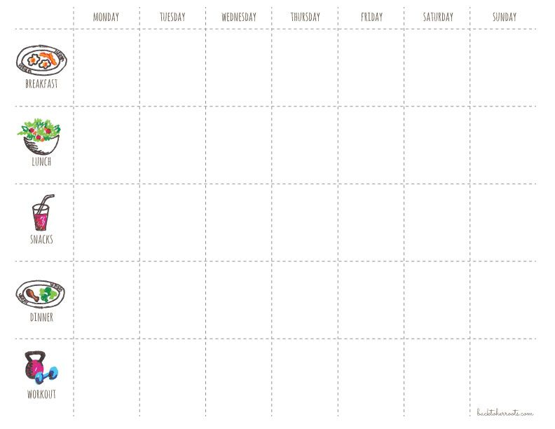 menu + exercise planner (free printable Exercise planner, Planners