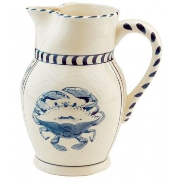 This 48oz. stoneware pitcher, hand painted with a beautiful blue crab design, easily doubles as a vase in addition to being the ideal container for your lemonade or iced tea! #fathersdaygift #bluecrabpitcher