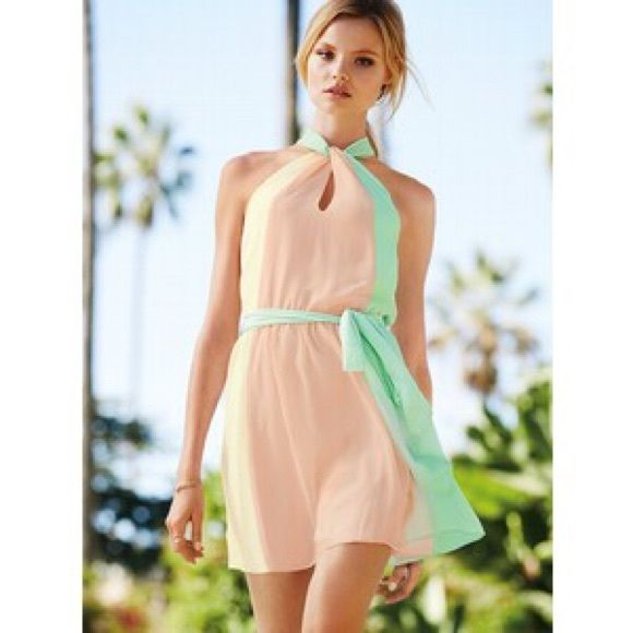 Pink and green color block dress