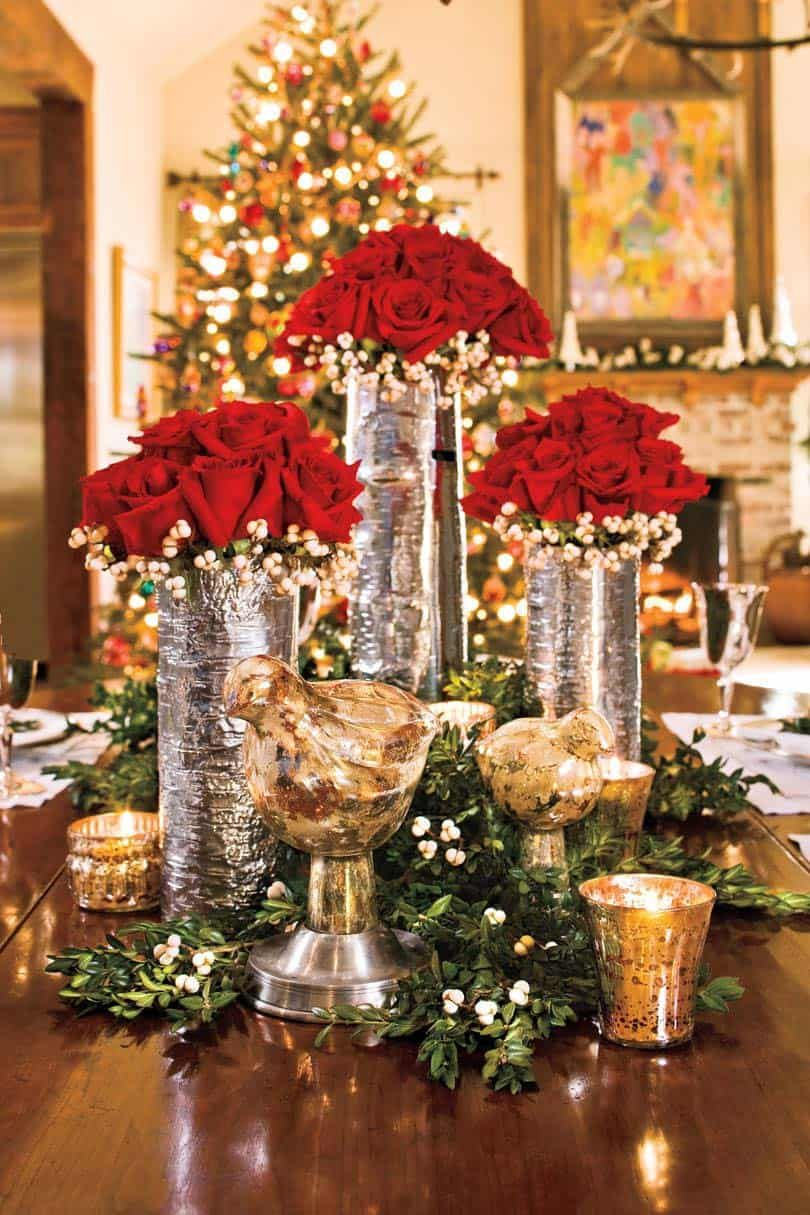 25 Absolutely Gorgeous Centerpiece Ideas For Your Christmas Table Christmas Party Centerpieces Christmas Centerpieces Christmas Table Centerpieces