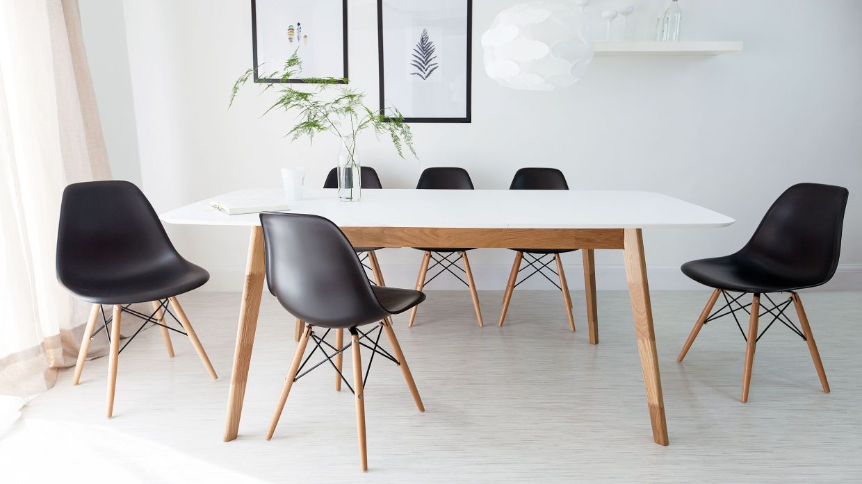 80e86f9ef01 4-8 Seater Extending Dining Set The Aver White and Oak Extending Dining  Table looks great with different styles and colours.
