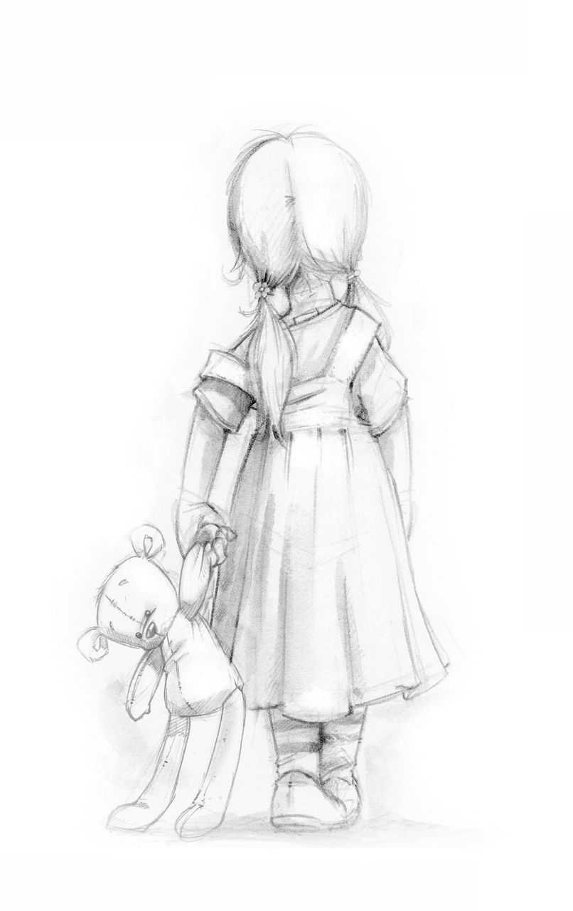 Pencil sketch of little girl with bear source unknown if this is copyright please let me know more