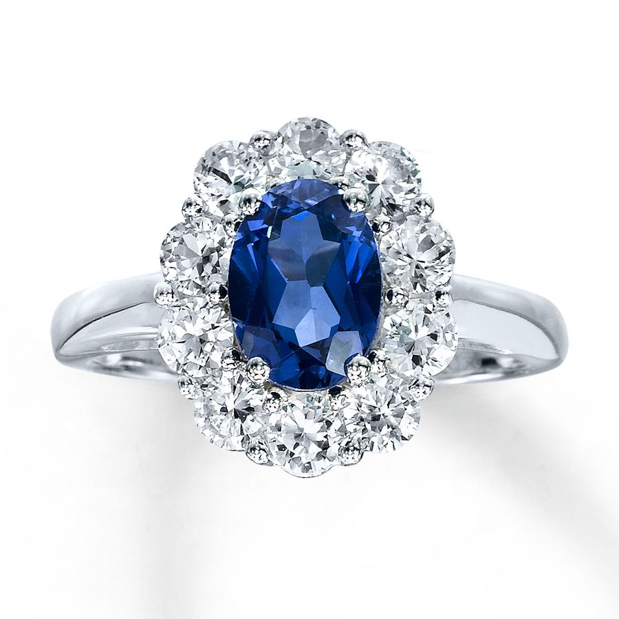 Fine Jewelry Lab-Created Blue and White Sapphire Sterling Silver Ring mMqe4
