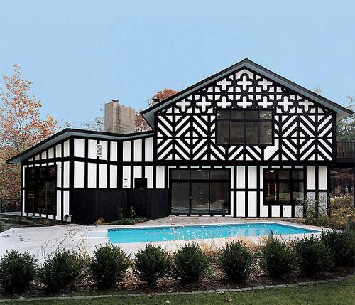 Richard Woods Super Tudor (2003) architectural exterior design on existing 1980s house, Woodstock, NY