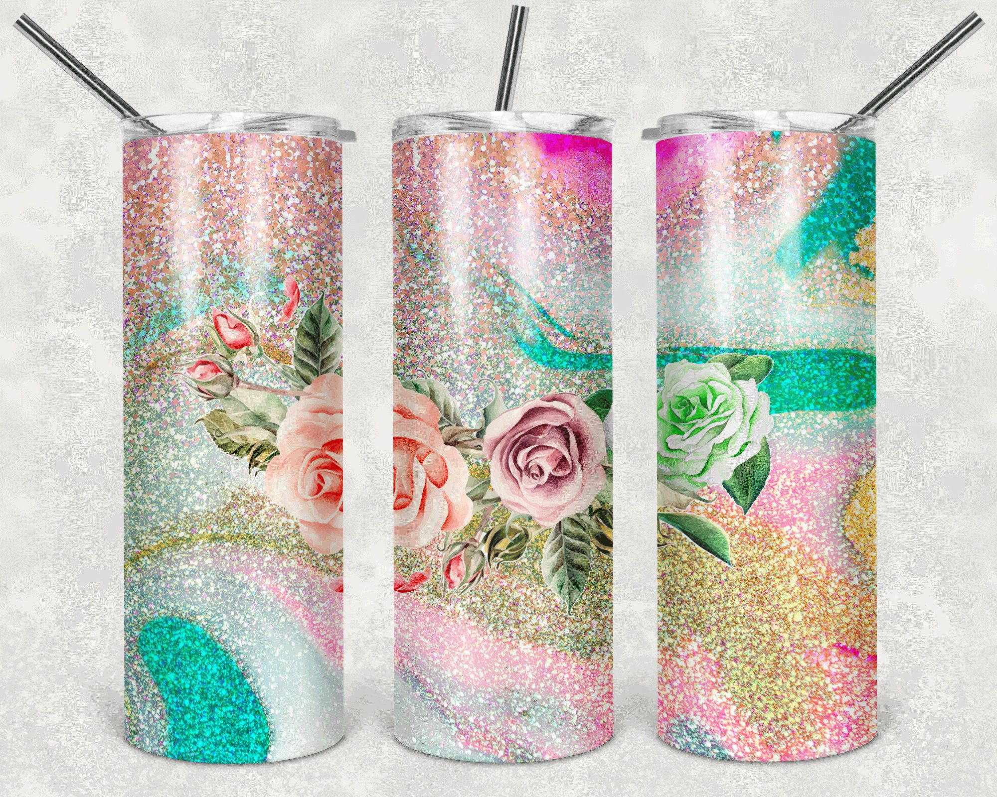 20 ounce Straight or Skinny Tumbler Pink Floral Glitter Ready to Press Pink 30oz Tumbler Sublimation Transfer