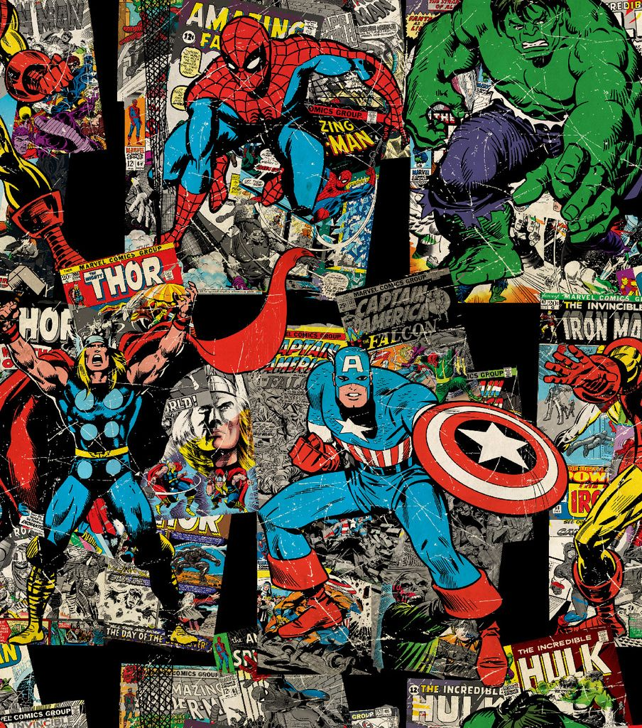 Marvel Retro Vintage Character Toss Cotton Fabric 43