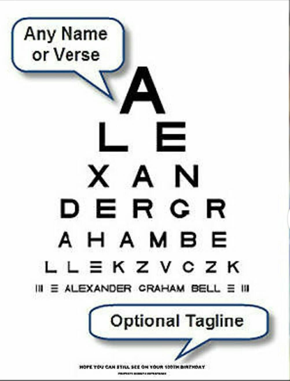 Personalized Snellen Eye Chart Print  You Pick The Words Up To