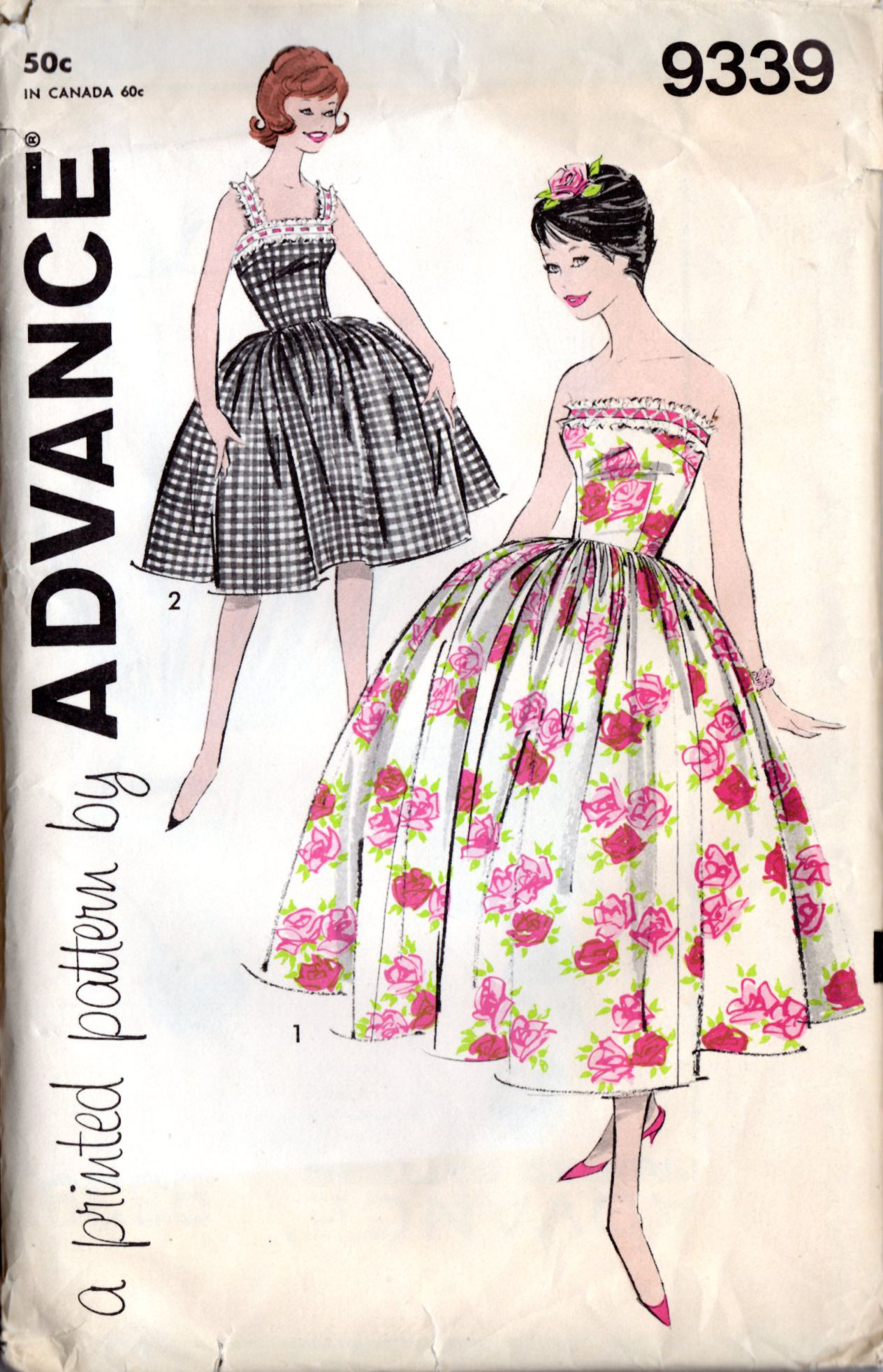 Advance 9339 Vintage 1950s/1960s Junior Sized Evening or Prom Dress ...
