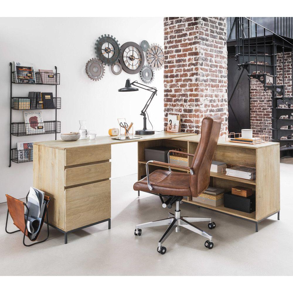 Bürostuhl auf Rollen aus Leder und Metall braun | Workplaces ...