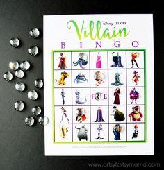 Free Printable Disney Villain Bingo at artsyfartsymama.com