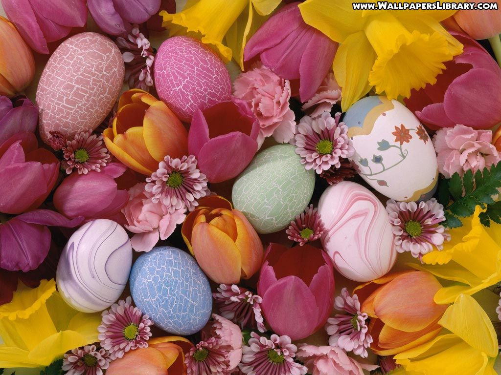 Easter Eggs And Flowers Wallpaper | Holiday - Easter | Pinterest ...