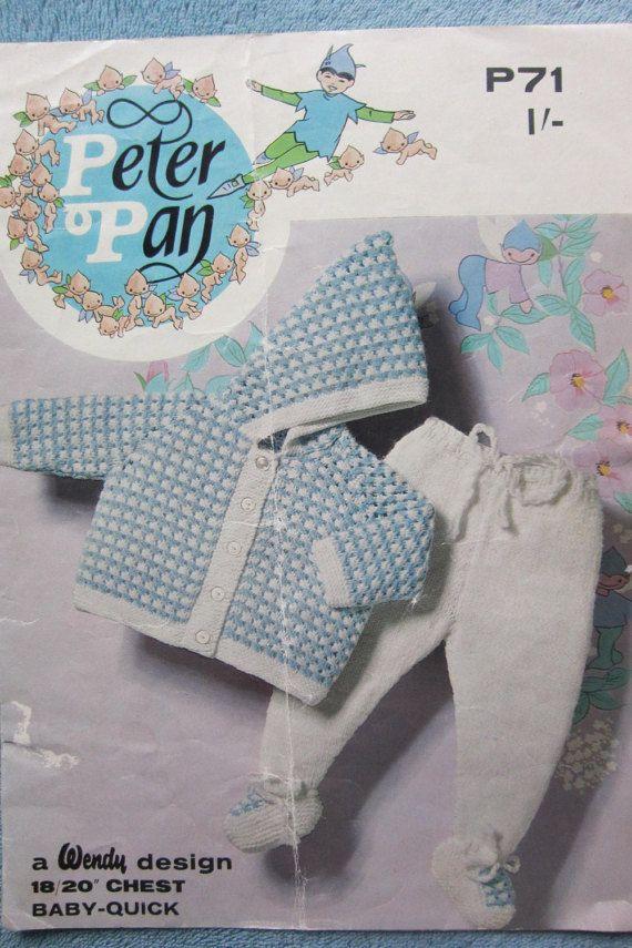 REDUCED** vintage baby knitting pattern, vintage peter pan pattern ...