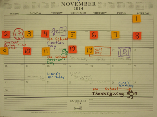 Teacher Ink: Calendar Color Coding.  I love plain paper calendars!  Here's why:           I get to write in all the special events of the month.  And color coding them makes them pop and easy to read.  Kids quiver with anticipation as they see each special day approach.