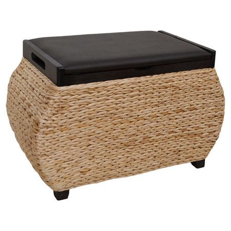 Beau Crafted With Woven Seagrass And Rattan, This Breezy Storage Ottoman Is  Perfect For Keeping Those