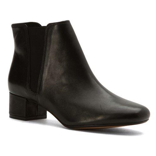 Clarks Women's Cala Jean Chelsea Boot Black Leather Size ...