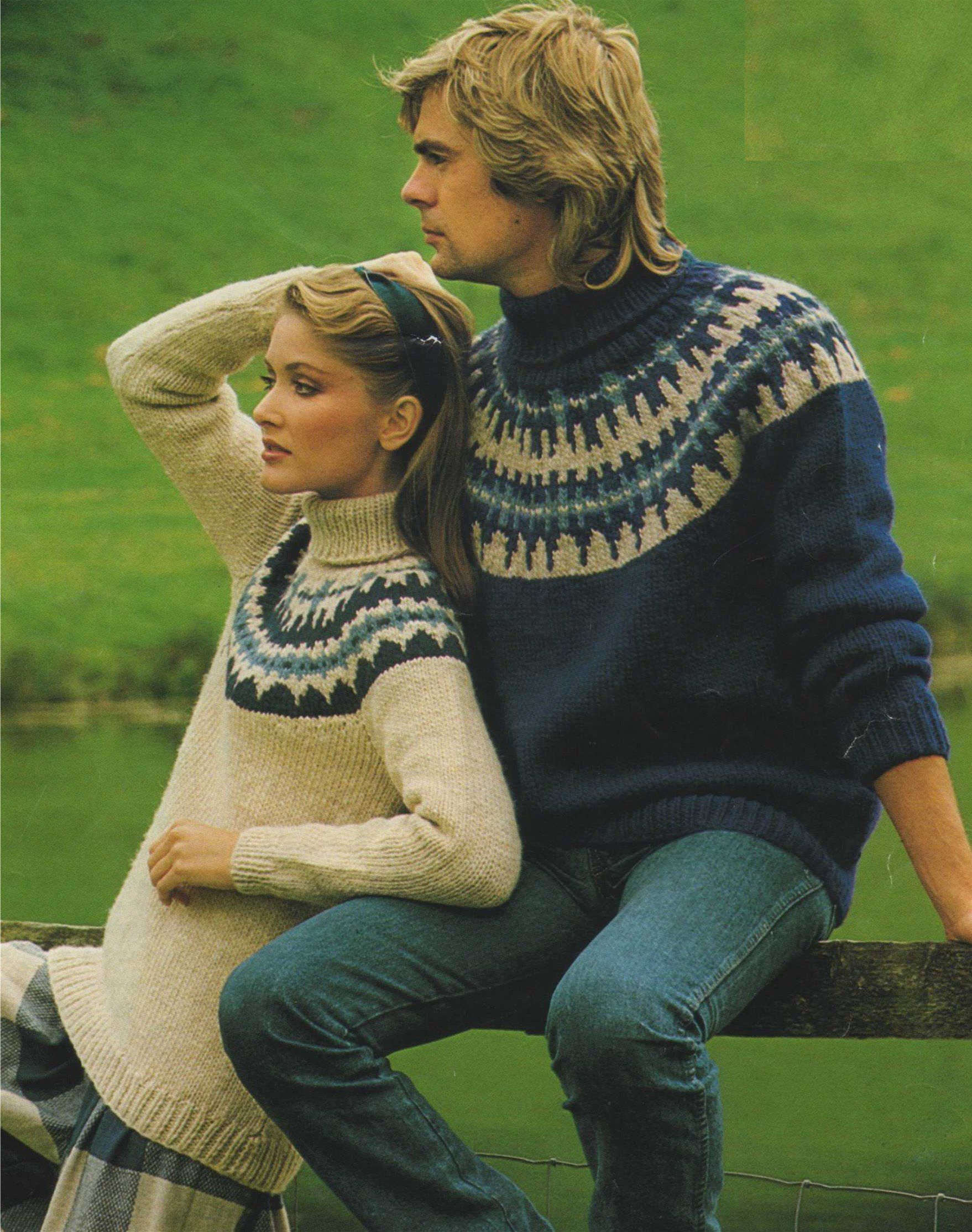 b064df4ae66e6 Fair Isle Yoke Sweater Knitting Pattern PDF Womens and Mens 32